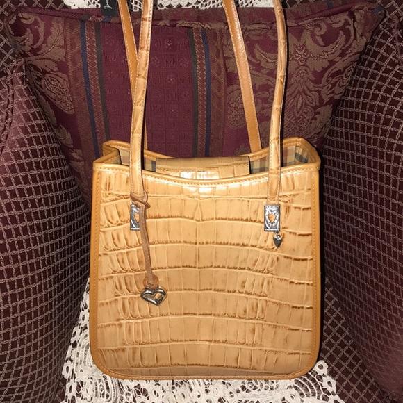 Brighton Handbags - Brighton Tan Moc Croc Satchel/ Shoulder Purse